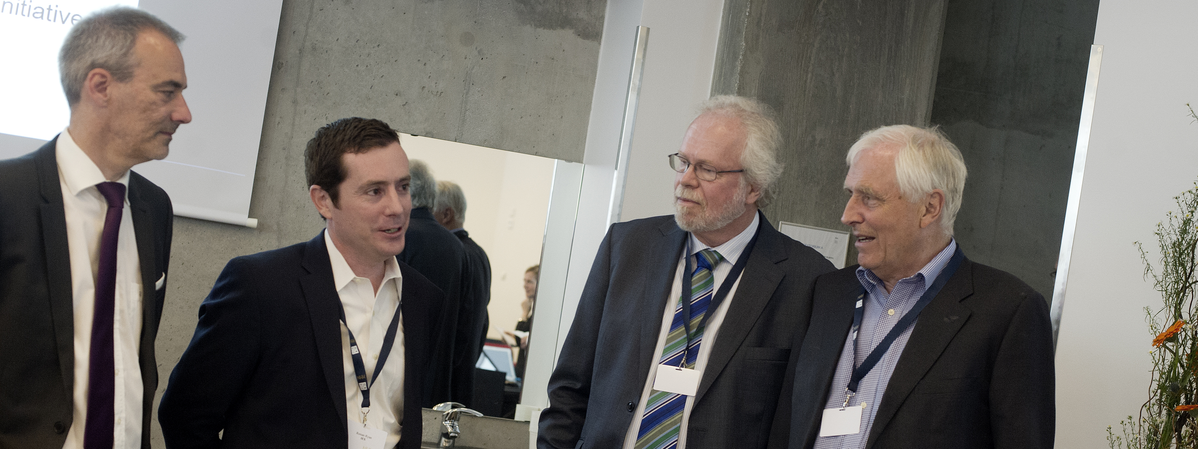 Professor Klaus Reiner Schenk-Hoppé (left) Ronan Ryan Chief Strategy Officer at IEX GROUP, Terje Lensberg and Thore Johnsen, both professor at Department of Finance NHH, at Jan Mossin Memorial Symposium «Do financial markets double-deal investors?».