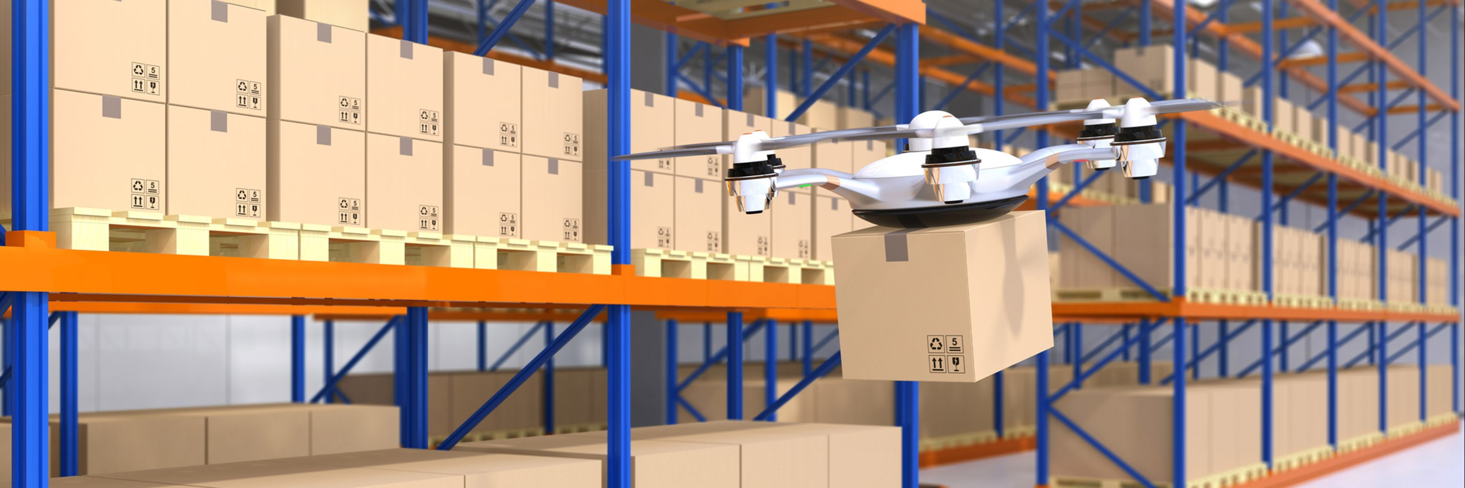 Warehouse drone and robots. Illustration: Haiyin/Dreamstime
