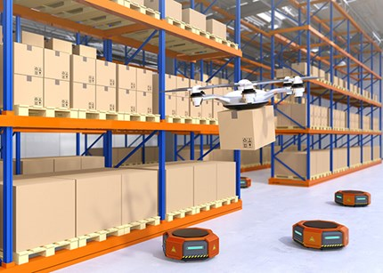 Warehouse with drones and robots. Illustration Haiyin/Dreamstime