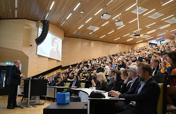A conference in NHH's Aud. Max. in 2019. Photo: Hallvard Lyssand/NHH