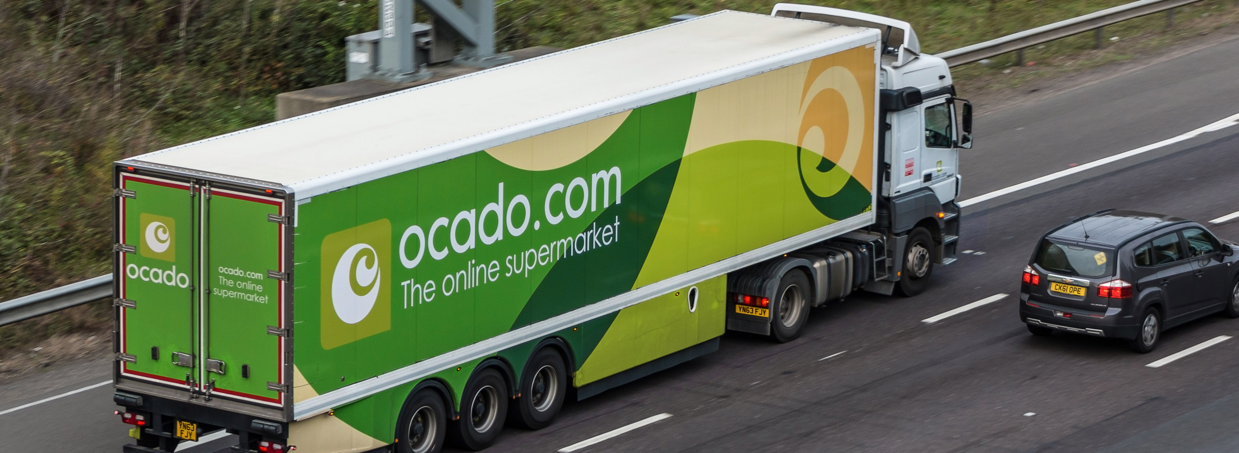 Ocado truck. Illustration