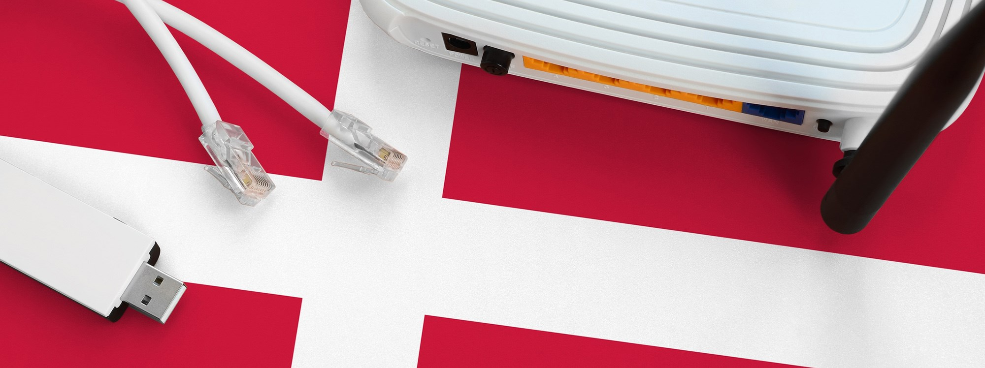 Danish flag and internet equipment.Photo: Mykhailo Polenok/Dreamstime.com