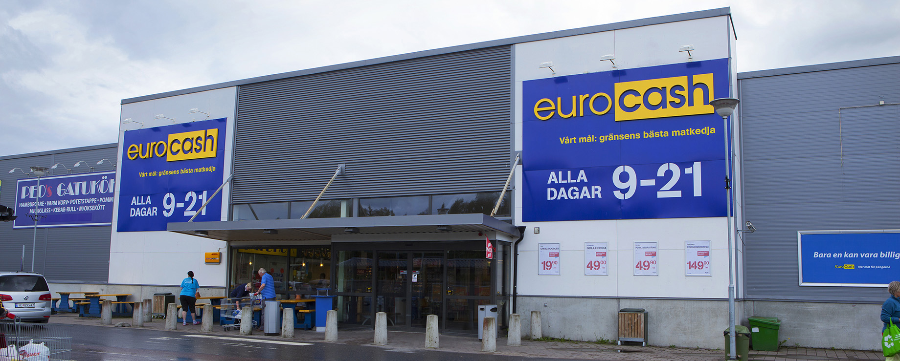 Eurocash, with its distinctive blue-yellow national colors, is owned by the largest private actor in Sweden, Axfood.