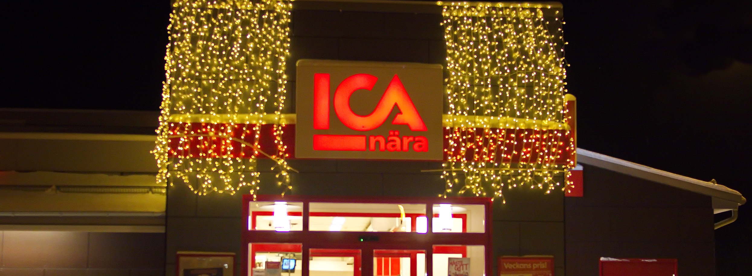Christmas decorated ICA store