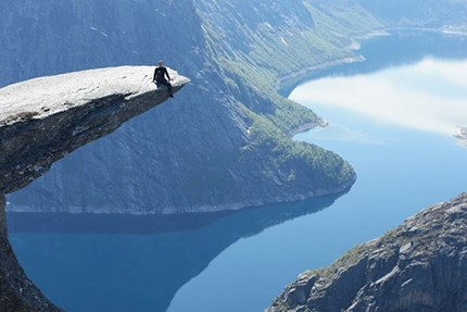 NHH student Andrejs Semjonov on the top of Trolltunga.