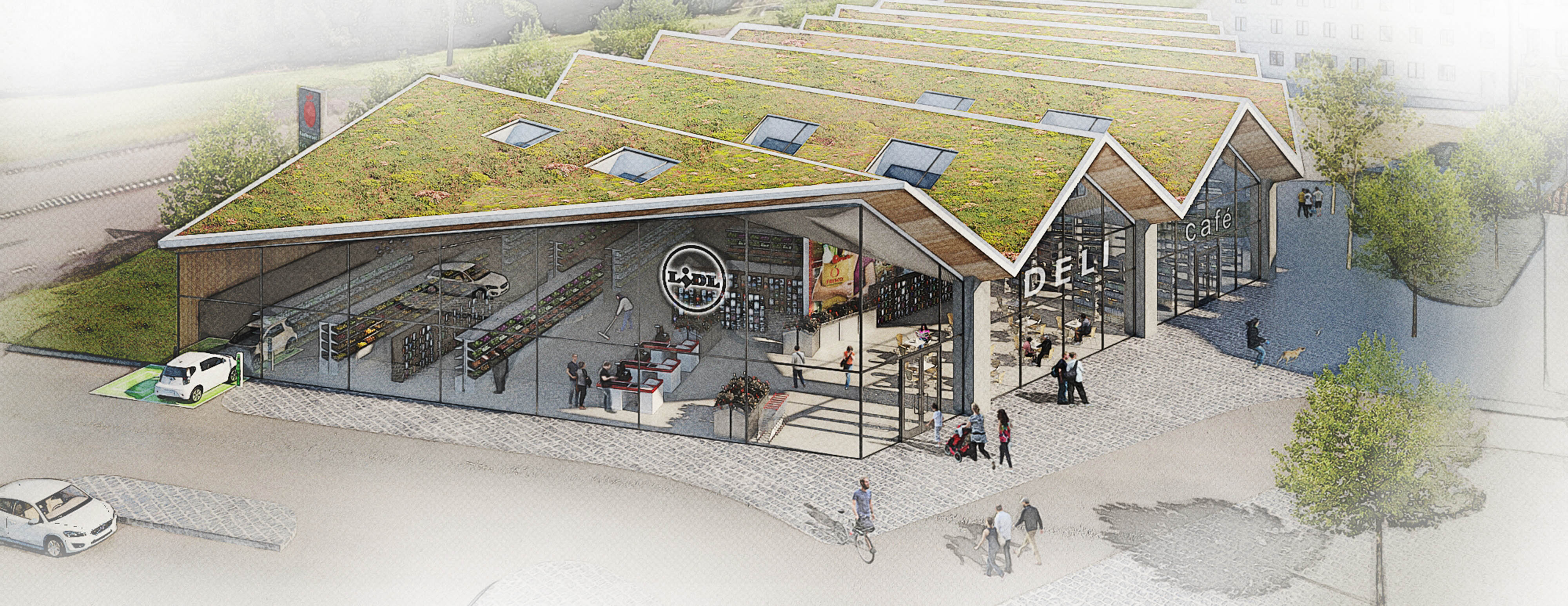 Planned Lidl store in Sigtuna, Sweden. Illustration: Link Arkitektur