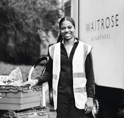 Waitrose Delivery worker. Photo. Press Photo