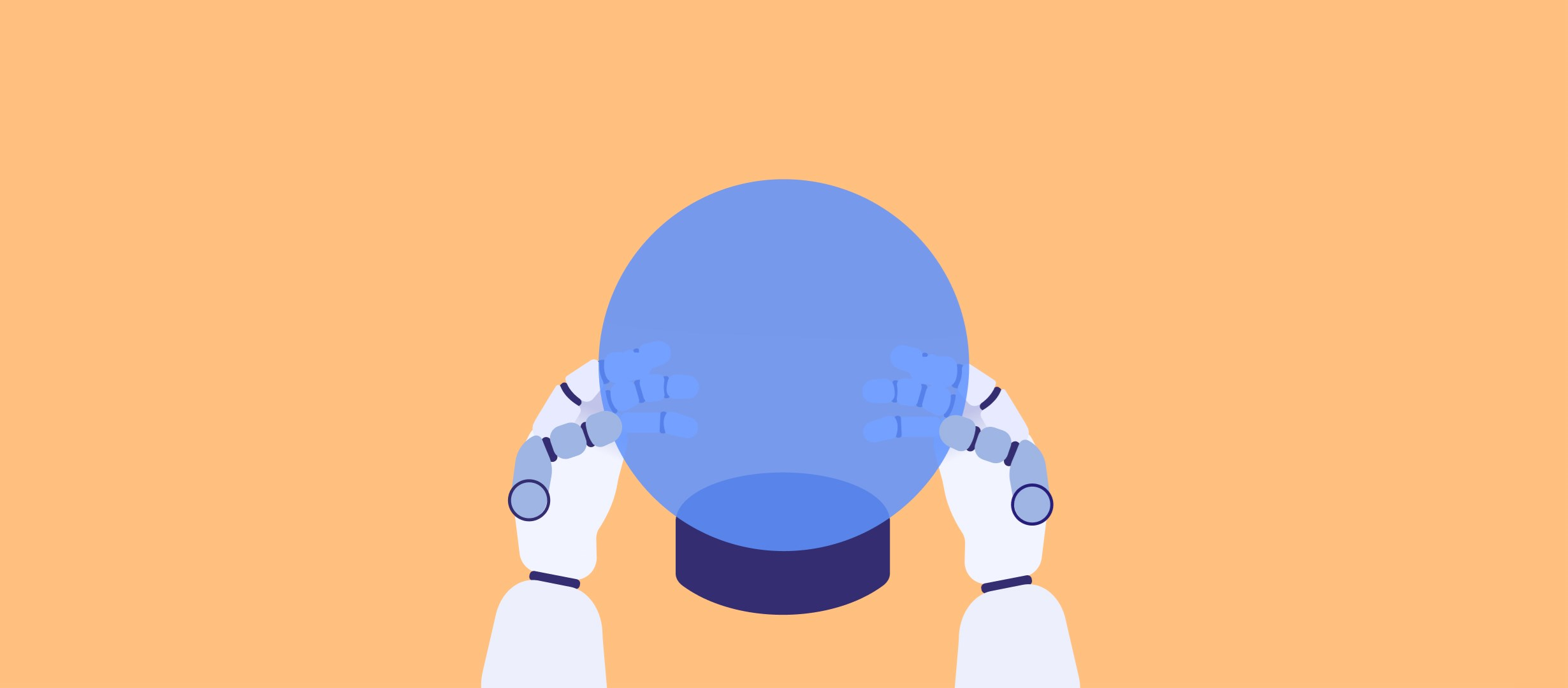 Robot holding a crystal ball