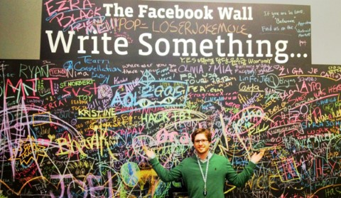 "Mats in front of ""The Facebook Wall"" at Facebook's European head quarter in Dublin."